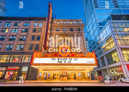 CHICAGO, ILLINOIS - MAY 10, 2018: The landmark Chicago Theatre on State Street at twilight. The historic theater dates from 1921. - Stock Photo