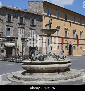 ASCOLI PICENO, ITALY - JUNE 02, 2014: Arringo Square is the oldest monumental square of the city of Ascoli Piceno. Near by: Fonzi palace, Arengo palac - Stock Photo