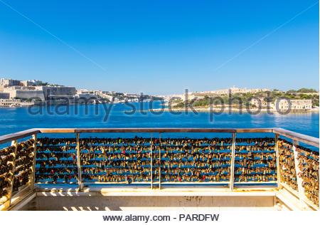 looking from sliema over marsamxett harbour to valletta and manoel island, malta - Stock Photo