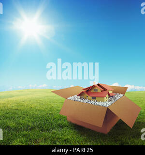 House in a cardboard box. Concept of buying a dwelling. 3D Rendering - Stock Photo