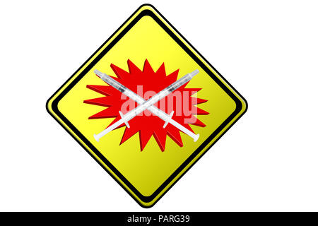 Two crossed syringes on a yellow warning sign with red symbol - Stock Photo