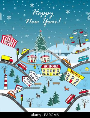 Happy Holidays Seasonal Greeting Card. Cute cartoon hills with city houses, streets, cars, and fir trees. Vector illustration - Stock Photo