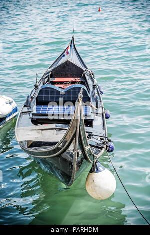 Historical gondola in harbor, Split, Croatia. Summer vacation. Travel destination. - Stock Photo