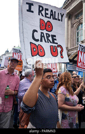Anti Trump protest during his London visit. Central London July 13 2018 - Stock Photo