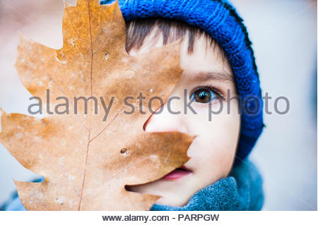 A young boy covering his face with a leaf - Stock Photo