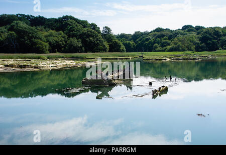 Shipwreck on the Hamble river, near Warsash, Hampshire, UK, showing reflections in the water - Stock Photo