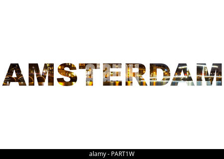A long exposure of one of the major canals in Amsterdam at night in the letters of AMSTERDAM - Stock Photo