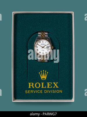 Rolex Oyster Datejust mens watch returned from service - Stock Photo