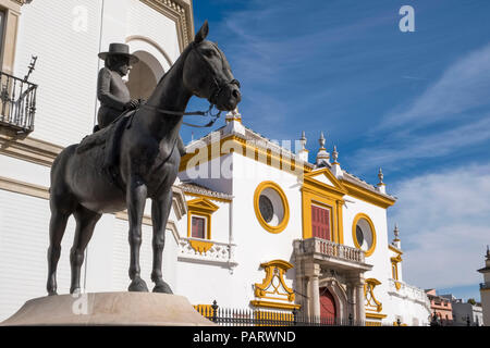 Maestranza, the Plaza de Toros de la Real Maestranza de Caballeria de Sevilla, Seville, Spain, Europe - bullring - Stock Photo