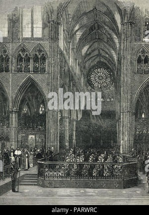 Thanksgiving service for the Golden Jubilee of Queen Victoria, Westminster Abbey, London, England, 21 June 1887 - Stock Photo