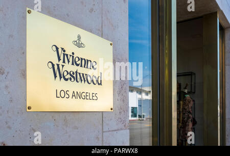 Vivienne Westwood shop store logo sign, Melrose Avenue, Los Angeles, LA, California, USA - Stock Photo