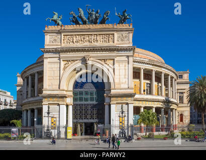 The Politeama Theatre, Teatro Politeama facade, Palermo, Sicily in Piazza Politeama with a bronze Quadriga - Stock Photo