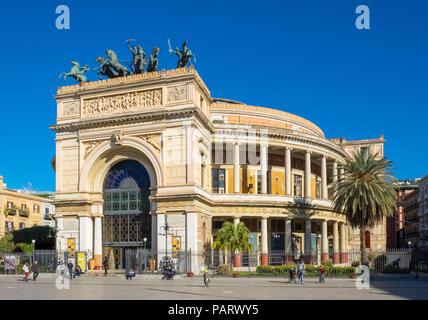 The Politeama Theatre, Teatro Politeama facade, Palermo, Sicily in Piazza Politeama with a bronze Quadriga - Stock Photo
