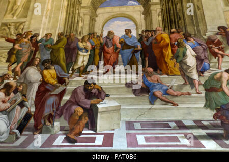 fresco of school of athene raffaello - Stock Photo