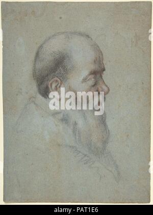 Bust of a Bearded Old Man, Profile to Right. Artist: Carletto Caliari (Italian, Venice 1567/70-1592/96 Venice). Dimensions: 10 9/16 x 7 13/16in. (26.8 x 19.8cm). Date: 1567-96. Museum: Metropolitan Museum of Art, New York, USA. - Stock Photo