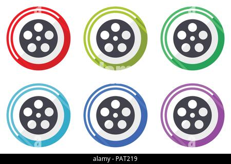 Film vector icon set. Colorful flat design web icons on white background in eps 10. - Stock Photo