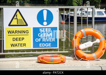London, UK, 24 July 2018 River Thames signs at Putney. - Stock Photo