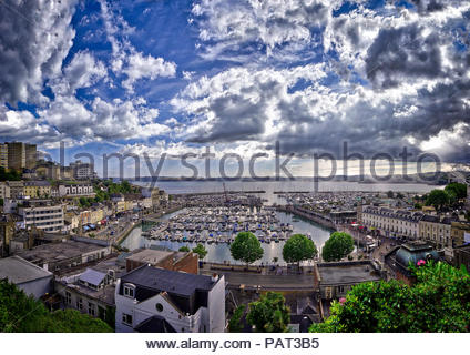 GB - DEVON: Torquay harbour and town (HDR Image) - Stock Photo