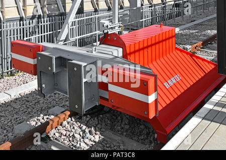 Red train buffers made by Rawie Germany at Shenfield train station on new railway track buffers & platform at Essex end of Elizabeth line Crossrail UK - Stock Photo