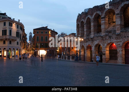 The Verona Arena,Piazza Bra in Verona Verona, Veneto, Italy - Stock Photo