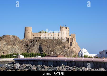 Fort Al-Jalali in old Muscat - Muscat, Oman - Stock Photo