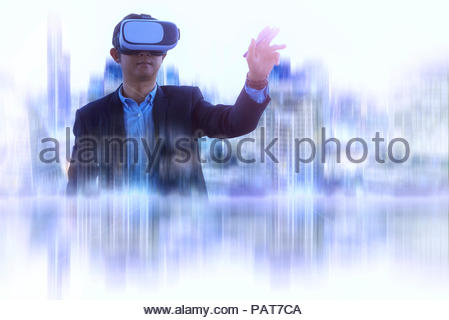 Double exposure man wearing virtual reality goggles in modern city with VR headset for digital business in the blue tone - Stock Photo