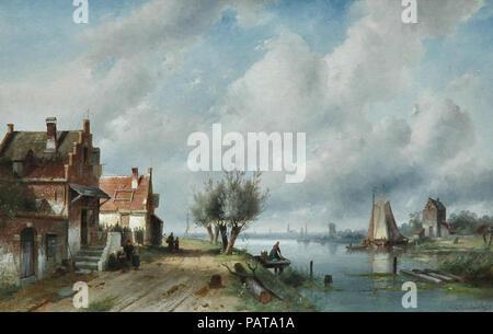 Leickert  Charles Henri Joseph - a River Landscape in Summer .. - Stock Photo