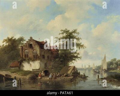 Leickert  Charles Henri Joseph - Crossing a River in Summer - Stock Photo