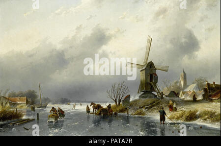 Leickert  Charles Henri Joseph - Dutch Village Scene with Figures on a Frozen Canal - Stock Photo