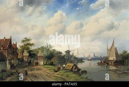 Leickert  Charles Henri Joseph - River Landscape in Summer - Stock Photo