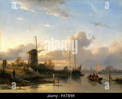 Leickert  Charles Henri Joseph - Summer River Landscape with Figures in a Boat - Stock Photo