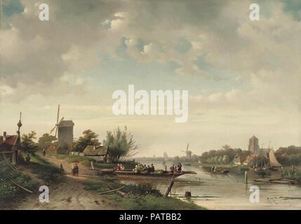 Leickert  Charles Henri Joseph - the Ferry Crossing in Summer - Stock Photo