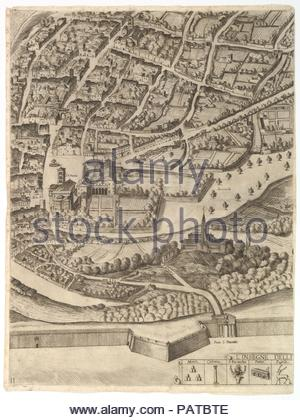 Plan of the City of Rome. Part 11 with the San Pancrazio (left bank). Artist: Antonio Tempesta (Italian, Florence 1555-1630 Rome). Dedicatee: Dedicated to Cardinal Camillo Pamphili. Dimensions: Sheet: 21 13/16 x 16 5/16 in. (55.4 x 41.5 cm)  Plate: 21 1/4 x 16 in. (53.9 x 40.6 cm). Publisher: Published by Giovanni Domenico de Rossi (Italian, 1619-1653). Date: 1645.  Part of the lower half of the map of Rome. Depicted is a southern part of the city with a view of both the left bank where the San Pancrazio can be identified. In the lower margin the symbols for the first five boroughs of Rome are - Stock Photo