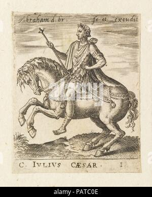 C. Julius Caesar from Twelve Caesars on Horseback. Artist: Abraham de Bruyn (Flemish, Antwerp 1540-1587 Cologne (?)). Dimensions: Sheet: 2 5/16 × 1 13/16 in. (5.8 × 4.6 cm). Date: ca. 1565-1587. Museum: Metropolitan Museum of Art, New York, USA. - Stock Photo
