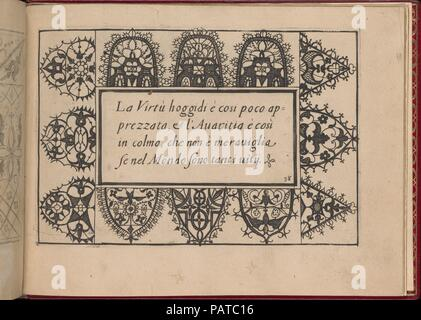 Ghirlanda: Di sei vaghi fiori scielti da piu famosi Giardini d'Italia, page 46 (recto). Designer: Pietro Paulo Tozzi (Italian, active 1593-1628). Dimensions: Overall: 5 7/8 x 7 7/8 in. (15 x 20 cm). Publisher: Libraria del Giesu , Padua. Date: October 1, 1604.  Designed by Pietro Paulo Tozzi, published by Libraria del Giesu, Padua.   Calligraphy by Antonello Bertozzi and Sebastian Zanella, scribes of Padua.  Design is composed of a central rectangle upon which calligraphic text is printed. Surrounding all sides of the middle section are rounded rectangular motifs that are each ornamented with  - Stock Photo