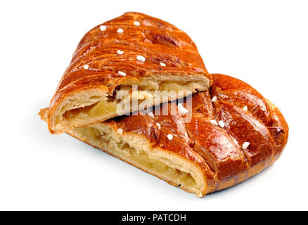 apfelstrudel (apple pie) isolated on white background - Stock Photo