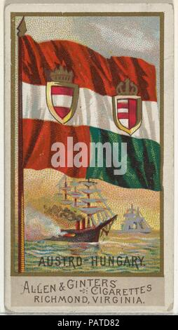 Austro-Hungary, from Flags of All Nations, Series 2 (N10) for Allen & Ginter Cigarettes Brands. Dimensions: Sheet: 2 3/4 x 1 1/2 in. (7 x 3.8 cm). Publisher: Issued by Allen & Ginter (American, Richmond, Virginia). Date: 1890.  Trade cards from the set, 'Flags of All Nations,' Series 2 (N10), issued in 1890 in a series of 50 cards to promote Allen & Ginter Brand Cigarettes. Museum: Metropolitan Museum of Art, New York, USA. - Stock Photo