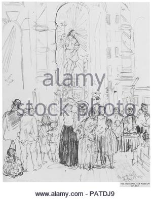 Street Shrine, New York. Artist: Jerome Myers (American, Petersburg, Virginia 1867-1940 New York). Dimensions: 10 x 8 1/16 in. (25.4 x 20.5 cm). Date: 1906. Museum: Metropolitan Museum of Art, New York, USA. - Stock Photo