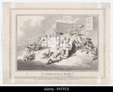 Comforts of Bath, Plate 12. Artist: Thomas Rowlandson (British, London 1757-1827 London). Dimensions: Sheet: 7 15/16 × 10 3/8 in. (20.1 × 26.4 cm)  Plate: 7 3/4 × 10 1/4 in. (19.7 × 26 cm). Publisher: Samuel William Fores (British, 1761-1838). Date: January 6, 1798. Museum: Metropolitan Museum of Art, New York, USA. - Stock Photo