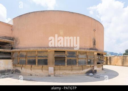 HAIFA, ISRAEL - JULY 20, 2018: Top section of the historic Talpiot market building, built in international (Bauhaus) style, in Hadar HaCarmel neighbor - Stock Photo