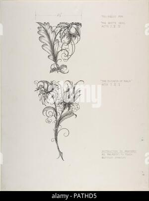 Floral Tailpiece Designs, The Duchess of Malfi and The White Devil. Artist: Henry Weston Keen (British, 1899-1935 Walberswick, Suffolk). Dimensions: sheet: 15 1/4 x 11 7/8 in. (38.7 x 30.2 cm). Date: ca. 1930.  Keen worked as a printmaker and illustrator in the 1920s and 1930s, creating unsettling symbolist images reminiscent of Aubrey Beardsley. Two significant commissions were designs for luxury editions published by The Bodley Head-a firm that had launched Beardsley in the 1890s-Oscar Wilde's 'Picture of Dorian Gray' (1925) and John Webster's 'The White Devil and The Duchess of Malfi' (1930 - Stock Photo