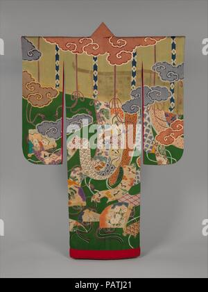 Over Robe (Uchikake) with Design of Bamboo Blinds, Curtain Screens, Decorative Fans, and Auspicous Motifs. Culture: Japan. Dimensions: Overall: 76 x 51 in. (193 x 129.5 cm). Date: ca. 1920s-30s.  The stylized clouds, bamboo blinds (misu), minutely decorated curtain screens (kicho), and elaborate fans adorned with colorful strings (hiogi) evoke the golden age of the Heian period (794-1185) court. This type of decorative pattern became fashionable during the second half of the Edo period (1615-1868) among wealthy chonin ladies. It continued to be popular in an altered form into the early twentie - Stock Photo