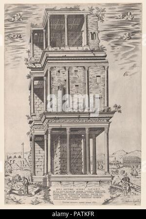 Speculum Romanae Magnificentiae: The Septizodium. Artist: Giovanni Ambrogio Brambilla (Italian, active Rome, 1575-99). Dimensions: sheet: 18 11/16 x 12 3/4 in. (47.5 x 32.4 cm). Publisher: Claudio Duchetti (Italian, active Venice and Rome, ca. 1565-died ca. 1585). Series/Portfolio: Speculum Romae Magnificentiae. Date: 1582.  This print comes from the museum's copy of the Speculum Romanae Magnificentiae (The Mirror of Roman Magnificence) The Speculum found its origin in the publishing endeavors of Antonio Salamanca and Antonio Lafreri. During their Roman publishing careers, the two foreign publ - Stock Photo