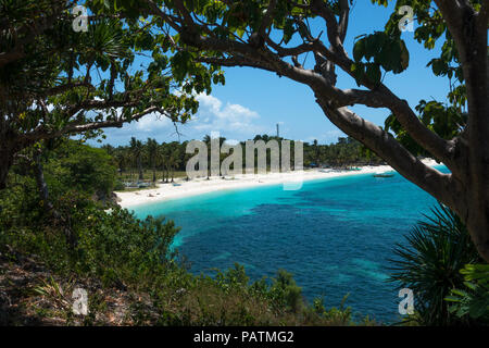 View of pristine Langob Beach, a white sand tourism paradise on Malapascua Island, northern Cebu - Philippines - Stock Photo