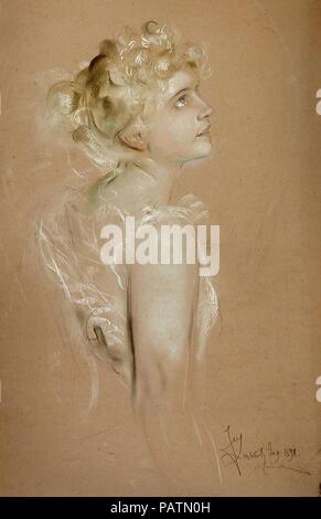 Lenbach  Franz Von - Portrait of a Young Woman 1 - Stock Photo