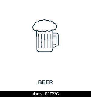 Beer icon. Outline style icon design. UI. Illustration of beer icon. Pictogram isolated on white. Ready to use in web design, apps, software, print - Stock Photo