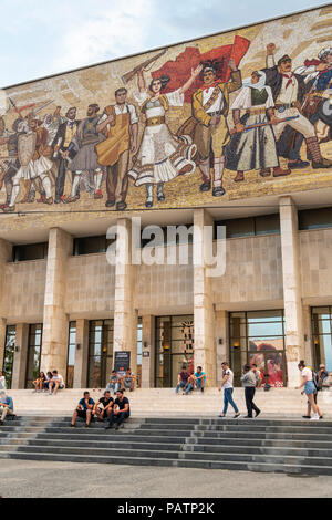 The Mosaic mural above the entrance to the National Historical Museum on Skanderbeg Square, Tirana, Albania, - Stock Photo