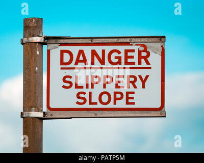 Danger Slippery Slope warning sign on Quayside - Stock Photo