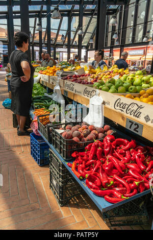 Vegetable stall in the newly refurbished Pazari i Ri, New bazaar area,  central market, in Tirana, Albania, - Stock Photo
