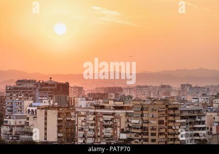 Sunset view across central Tirana looking North west, Tirana, Albania, - Stock Photo